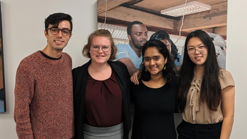 From left: Rice undergraduate students and Rice 360 interns Diego Gonzalez, Hannah Andersen, Aarohi Mehendale and Sally Yan.