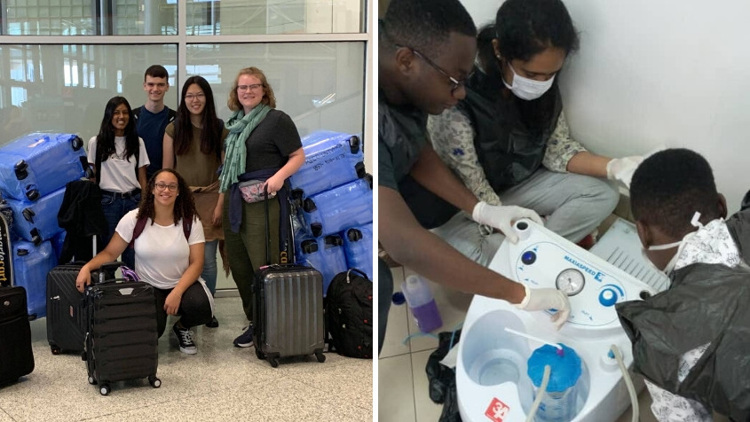 From left: Rice 360 interns on their way to Malawi, including Yan and Andersen; Mehendale and her design team clean and test a blood suction pump.