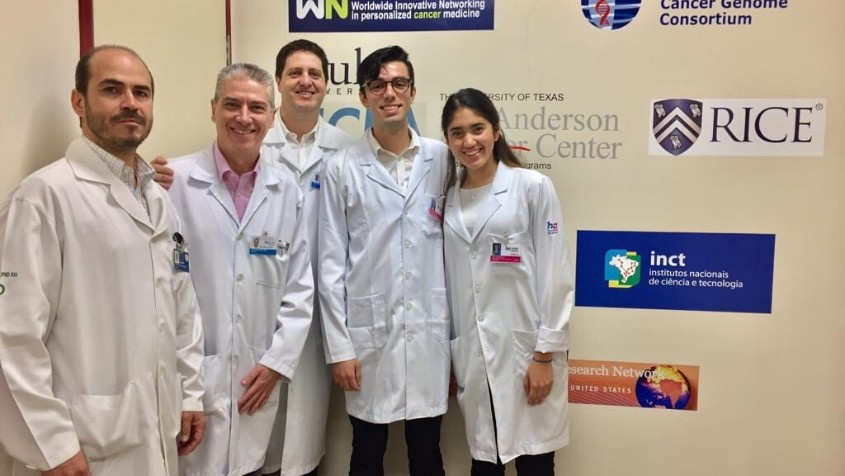 From left: Hospital de Amor Barretos Drs. Deny, Ricardo and Vinicius with Gonzalez and fellow Rice 360 intern Paula Ayala.
