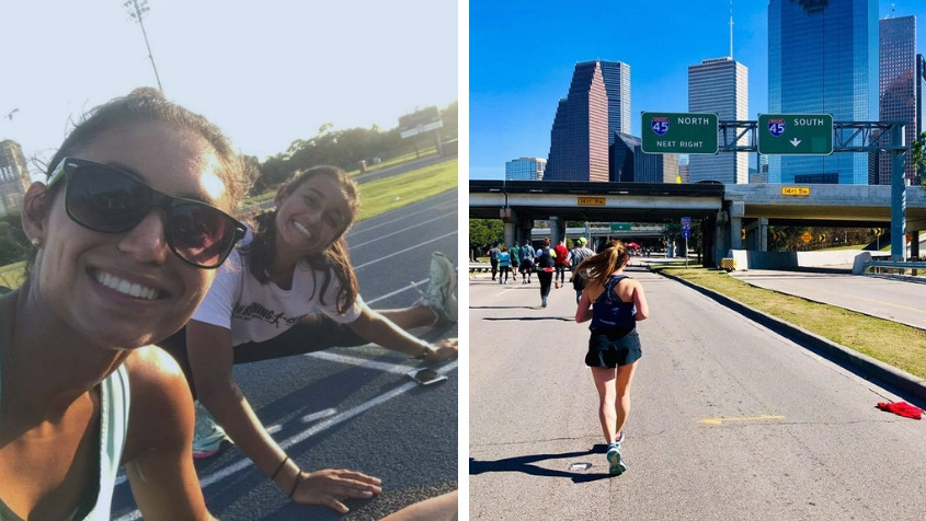 Above, from left: Mary Natoli and Kathryn Kundrod training; Melody Tan running in the 2019 Chevron Houston Marathon.