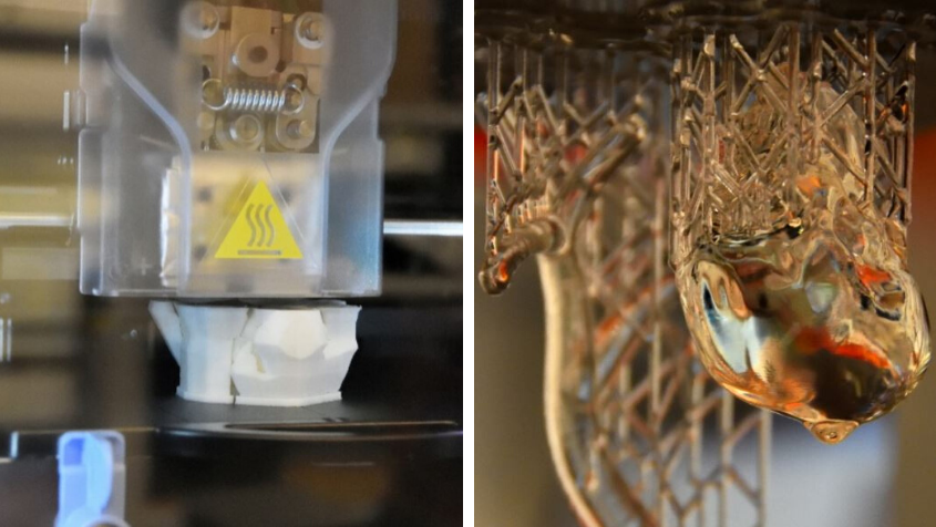 A fused deposition 3D model of a skull taken from a medical image in the Biomaterials Lab; high-resolution models of a heart and a trachea produced using one of the Biomaterials Lab's 3D printers.